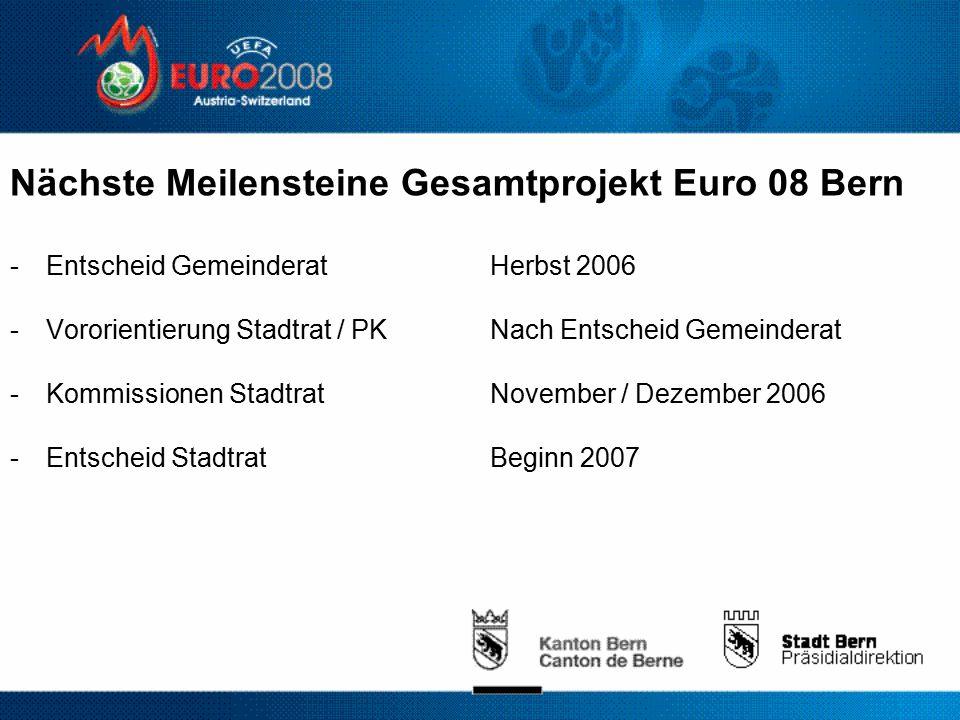 Nächste Meilensteine Gesamtprojekt Euro 08 Bern -Entscheid GemeinderatHerbst 2006 -Vororientierung Stadtrat / PKNach Entscheid Gemeinderat -Kommissionen StadtratNovember / Dezember 2006 -Entscheid StadtratBeginn 2007