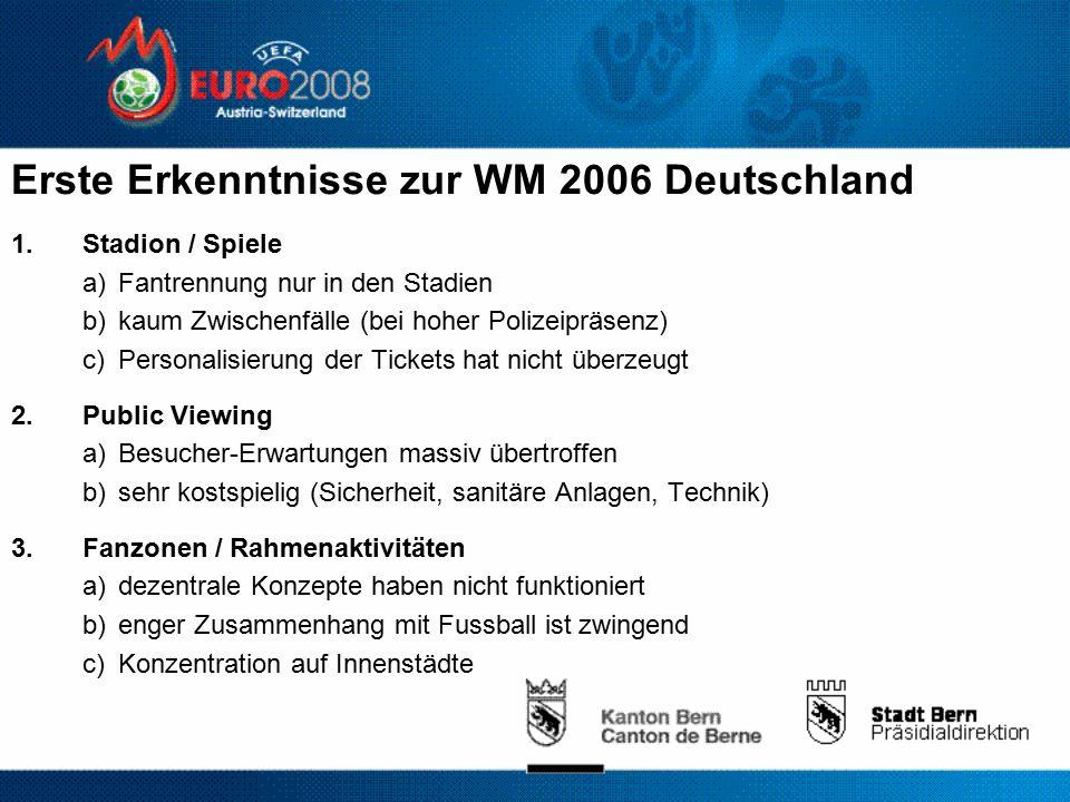 Erste Erkenntnisse zur WM 2006 Deutschland 1.Stadion / Spiele a)Fantrennung nur in den Stadien b)kaum Zwischenfälle (bei hoher Polizeipräsenz) c)Personalisierung der Tickets hat nicht überzeugt 2.Public Viewing a)Besucher-Erwartungen massiv übertroffen b)sehr kostspielig (Sicherheit, sanitäre Anlagen, Technik) 3.Fanzonen / Rahmenaktivitäten a)dezentrale Konzepte haben nicht funktioniert b)enger Zusammenhang mit Fussball ist zwingend c)Konzentration auf Innenstädte