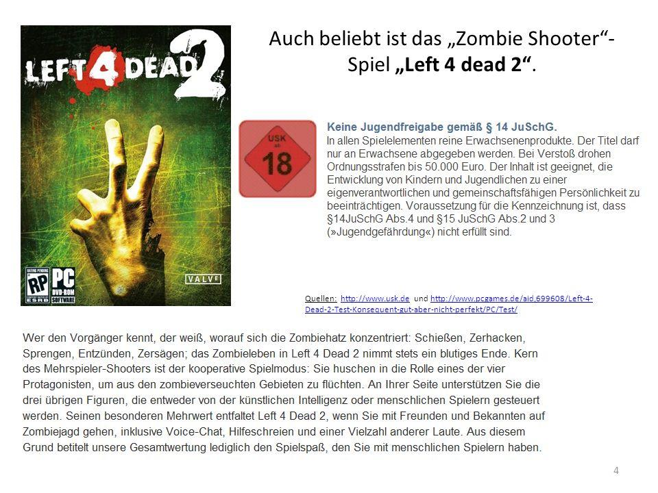 """Auch beliebt ist das """"Zombie Shooter - Spiel """"Left 4 dead 2 ."""