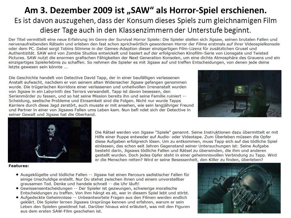 """Am 3. Dezember 2009 ist """"SAW als Horror-Spiel erschienen."""