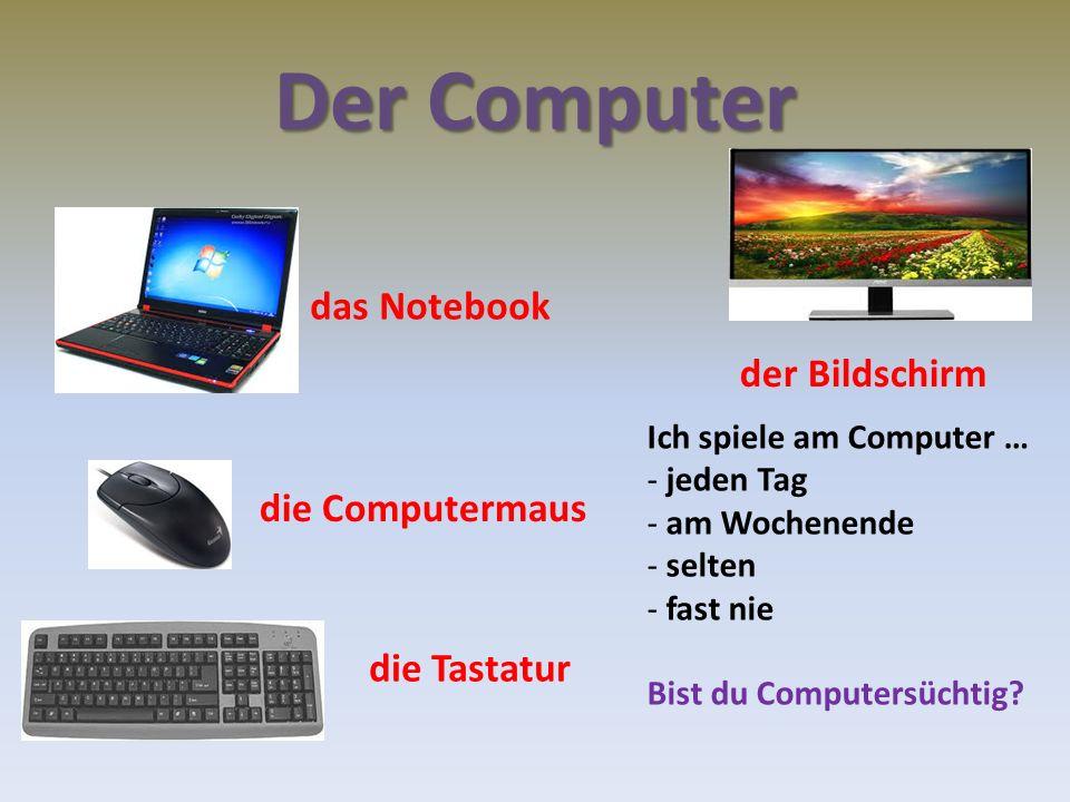 Der Computer das Notebook die Computermaus die Tastatur der Bildschirm Ich spiele am Computer … - jeden Tag - am Wochenende - selten - fast nie Bist du Computersüchtig