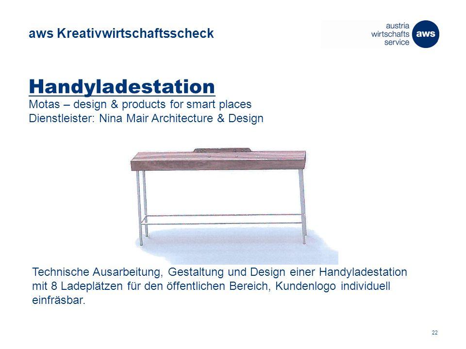 Handyladestation Motas – design & products for smart places Dienstleister: Nina Mair Architecture & Design Technische Ausarbeitung, Gestaltung und Design einer Handyladestation mit 8 Ladeplätzen für den öffentlichen Bereich, Kundenlogo individuell einfräsbar.