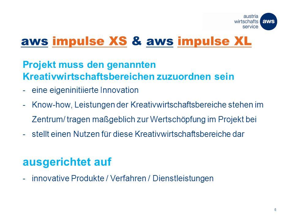 aws impulse XS & aws impulse XL Projekt muss den genannten Kreativwirtschaftsbereichen zuzuordnen sein -eine eigeninitiierte Innovation -Know-how, Leistungen der Kreativwirtschaftsbereiche stehen im Zentrum/ tragen maßgeblich zur Wertschöpfung im Projekt bei -stellt einen Nutzen für diese Kreativwirtschaftsbereiche dar ausgerichtet auf -innovative Produkte / Verfahren / Dienstleistungen 6