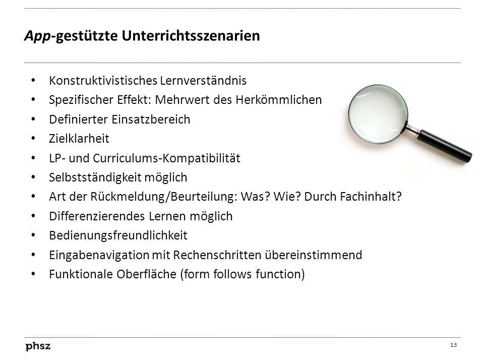 App-gestützte Unterrichtsszenarien 13 Konstruktivistisches Lernverständnis Spezifischer Effekt: Mehrwert des Herkömmlichen Definierter Einsatzbereich