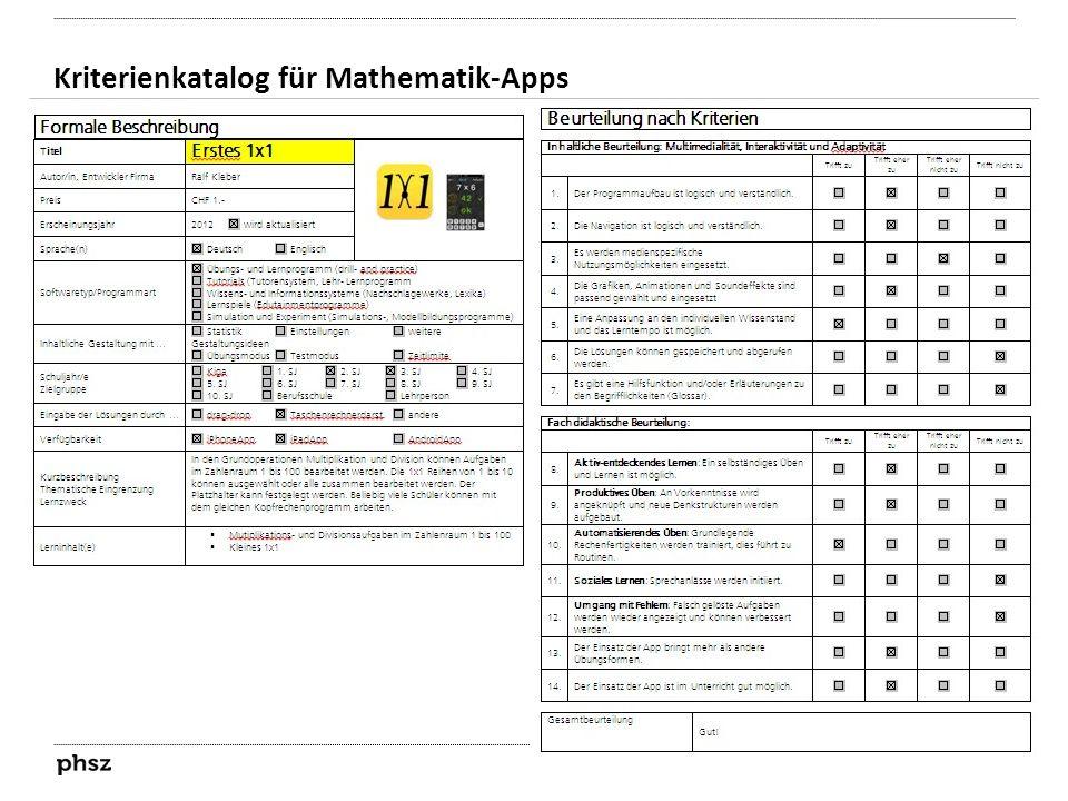 Kriterienkatalog für Mathematik-Apps