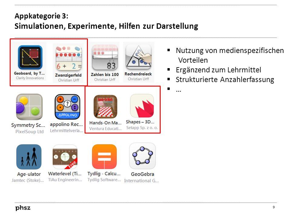Appkategorie 3: Simulationen, Experimente, Hilfen zur Darstellung 9  Nutzung von medienspezifischen Vorteilen  Ergänzend zum Lehrmittel  Strukturie