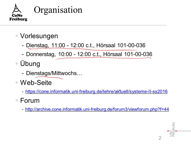 Organisation  Vorlesungen -Dienstag, 11:00 - 12:00 c.t., Hörsaal 101-00-036 -Donnerstag, 10:00 - 12:00 c.t., Hörsaal 101-00-036  Übung -Dienstags/Mittwochs…  Web-Seite -https://cone.informatik.uni-freiburg.de/lehre/aktuell/systeme-II-ss2016https://cone.informatik.uni-freiburg.de/lehre/aktuell/systeme-II-ss2016  Forum -http://archive.cone.informatik.uni-freiburg.de/forum3/viewforum.php?f=44http://archive.cone.informatik.uni-freiburg.de/forum3/viewforum.php?f=44 2