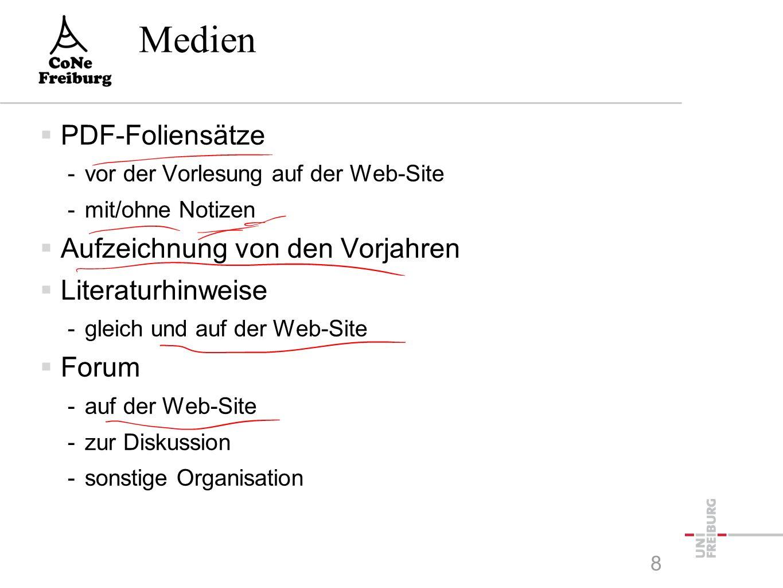 Medien  PDF-Foliensätze -vor der Vorlesung auf der Web-Site -mit/ohne Notizen  Aufzeichnung von den Vorjahren  Literaturhinweise -gleich und auf der Web-Site  Forum -auf der Web-Site -zur Diskussion -sonstige Organisation 8