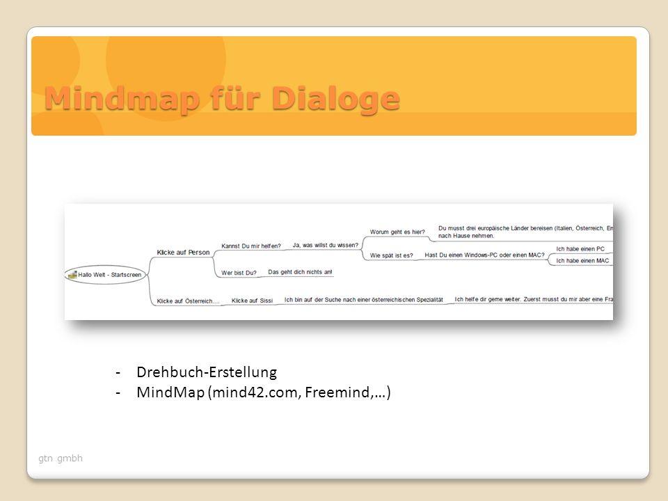 gtn gmbh Mindmap für Dialoge -Drehbuch-Erstellung -MindMap (mind42.com, Freemind,…)