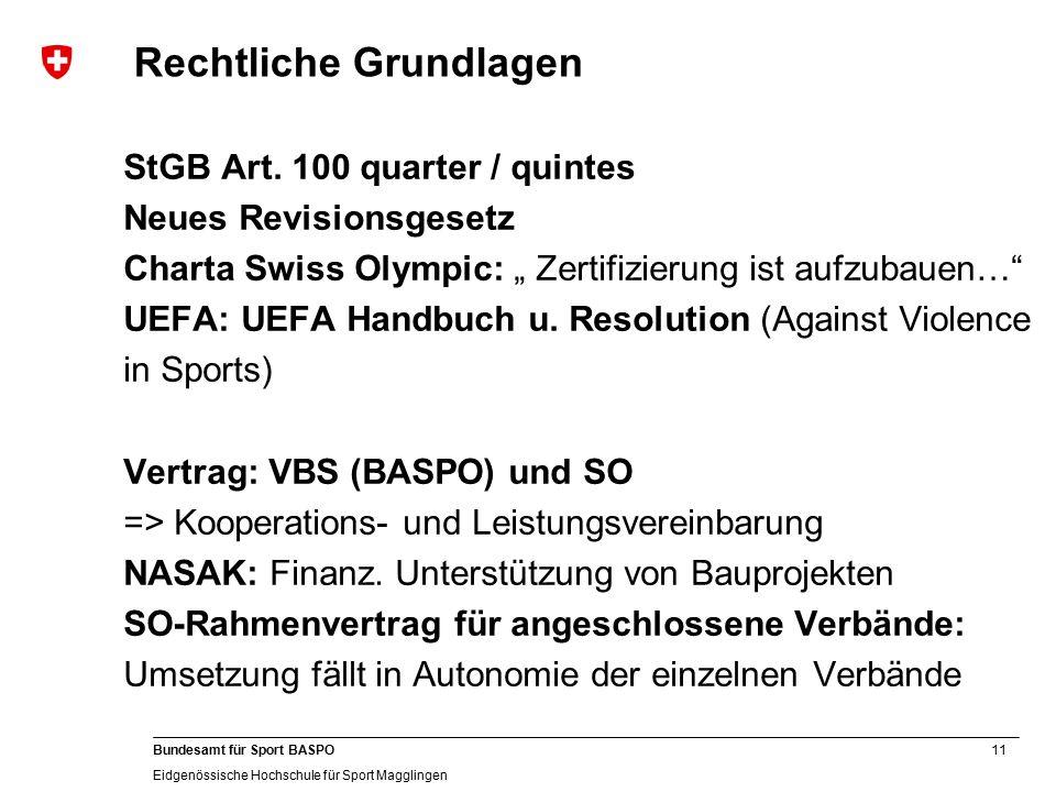 11 Bundesamt für Sport BASPO Eidgenössische Hochschule für Sport Magglingen Rechtliche Grundlagen StGB Art.