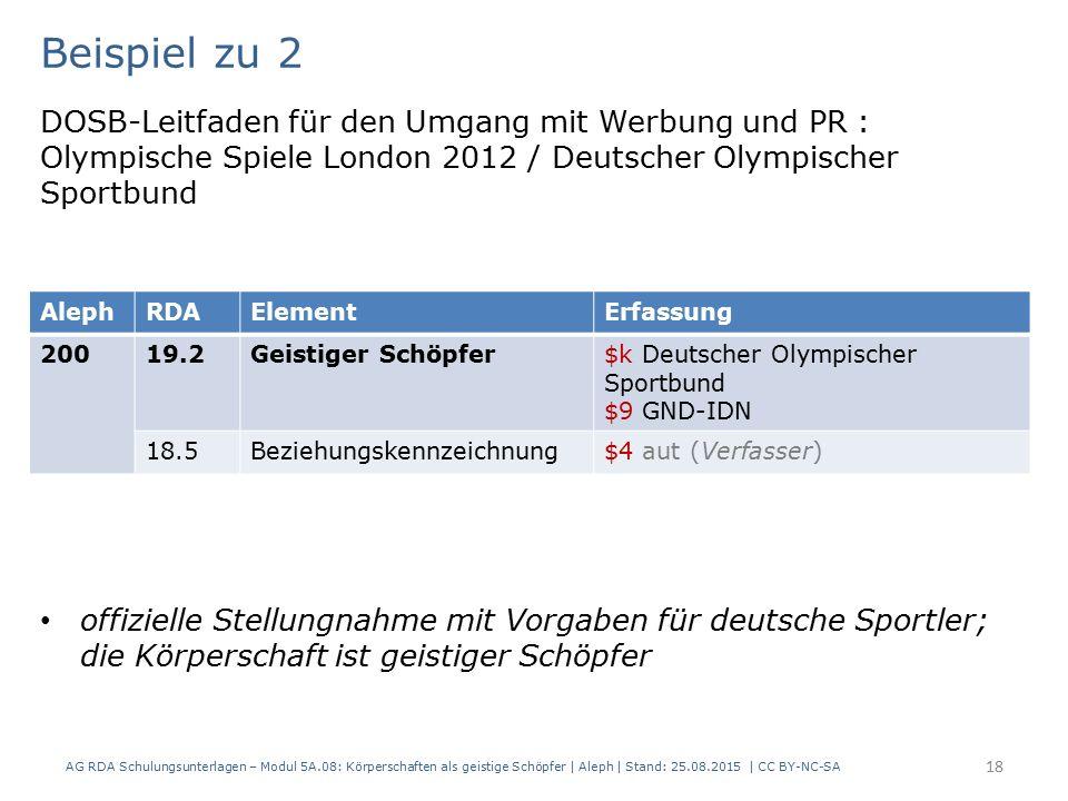 Beispiel zu 2 DOSB-Leitfaden für den Umgang mit Werbung und PR : Olympische Spiele London 2012 / Deutscher Olympischer Sportbund offizielle Stellungna