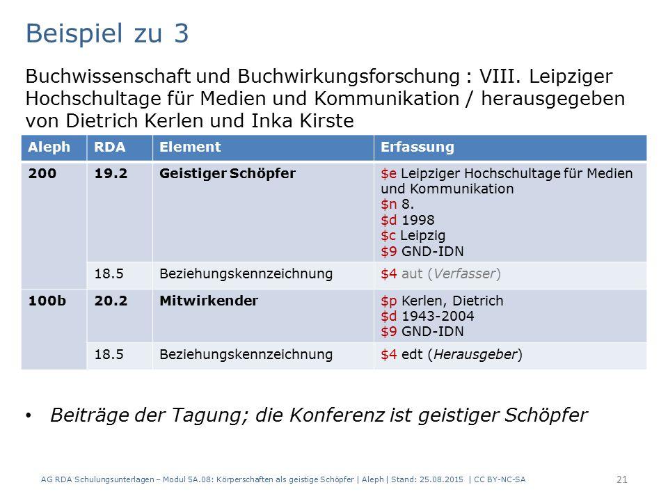 AG RDA Schulungsunterlagen – Modul 5A.08: Körperschaften als geistige Schöpfer | Aleph | Stand: 25.08.2015 | CC BY-NC-SA 21 Beispiel zu 3 Buchwissenschaft und Buchwirkungsforschung : VIII.