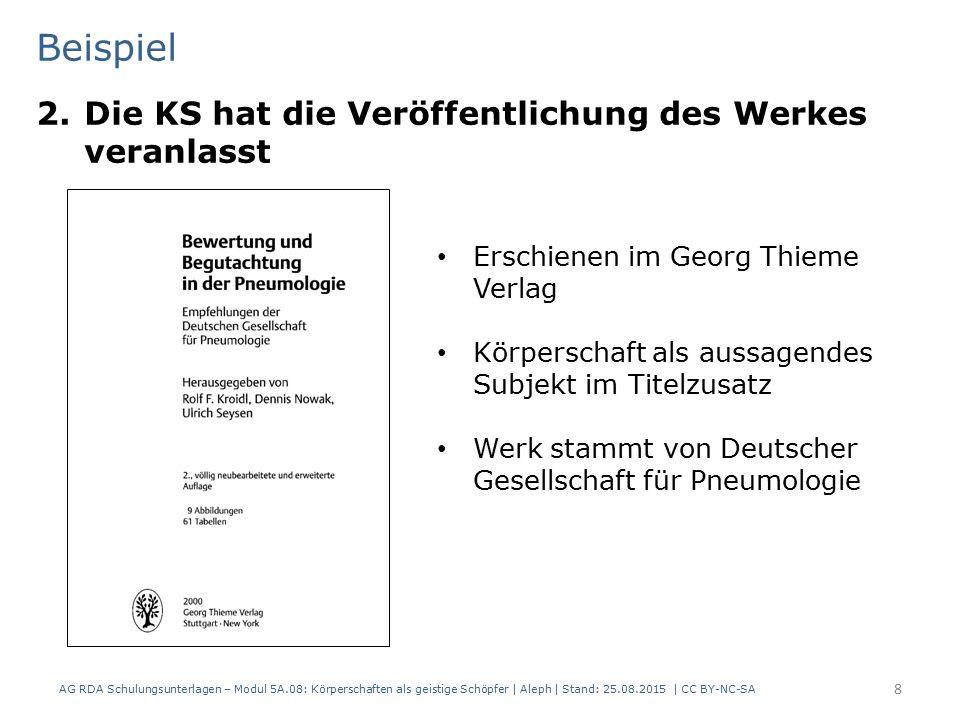 Beispiel 2.Die KS hat die Veröffentlichung des Werkes veranlasst AG RDA Schulungsunterlagen – Modul 5A.08: Körperschaften als geistige Schöpfer | Alep