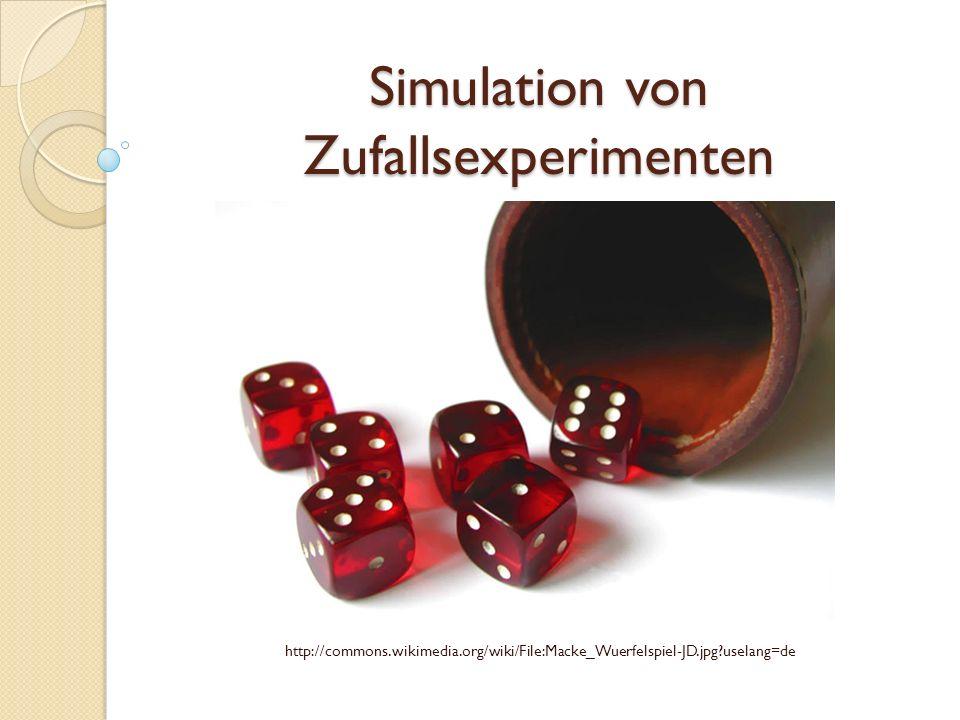"""Lösung zu Aufgabe 3: Simulationsplan: Simulation für die Wartezeit auf das Ergebnis """"6 beim Würfeln Modellierung: Wahrscheinlichkeit für das Würfeln einer """"6 : 1/6 Zufallsgerät: Zufallszahlen von 1 bis 6, erzeugt mit GTR X: Anzahl der Würfe bis zum Erscheinen der """"6 Ergebnis E: die """"6 taucht in der Würfelserie zum ersten Mal auf Mögliche Werte: 1,2,3.."""