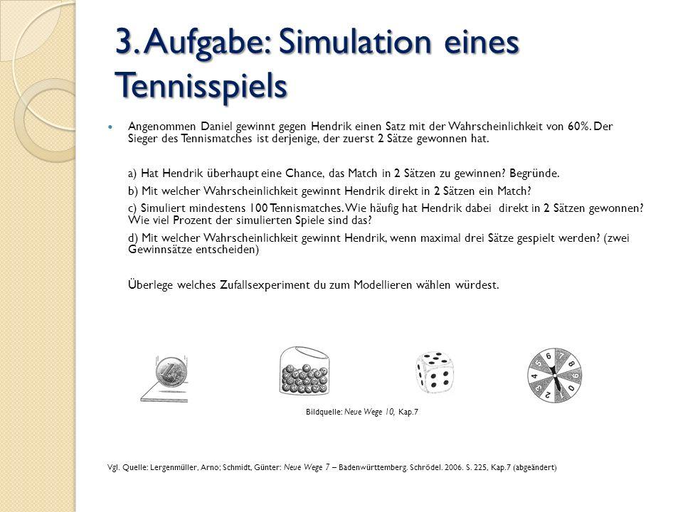 3. Aufgabe: Simulation eines Tennisspiels Angenommen Daniel gewinnt gegen Hendrik einen Satz mit der Wahrscheinlichkeit von 60%. Der Sieger des Tennis