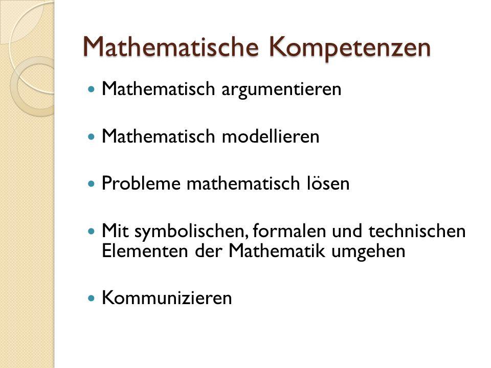 Mathematische Kompetenzen Mathematisch argumentieren Mathematisch modellieren Probleme mathematisch lösen Mit symbolischen, formalen und technischen Elementen der Mathematik umgehen Kommunizieren