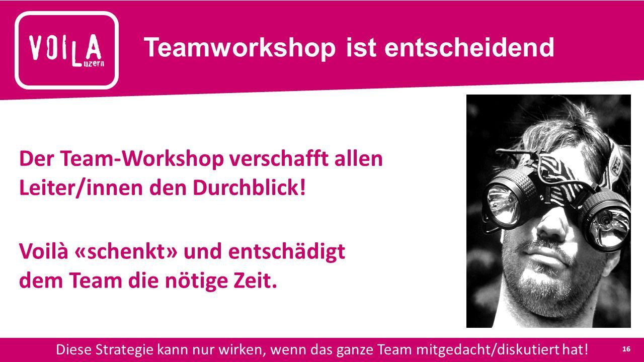 Teamworkshop ist entscheidend Diese Strategie kann nur wirken, wenn das ganze Team mitgedacht/diskutiert hat.