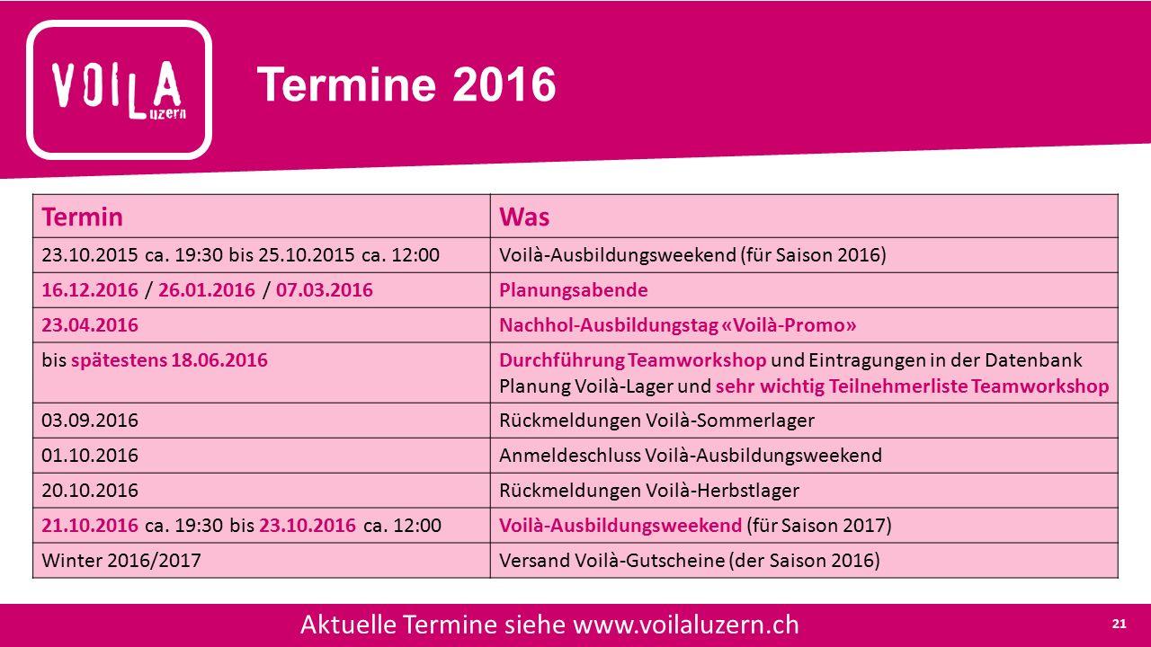 Termine 2016 Aktuelle Termine siehe www.voilaluzern.ch TerminWas 23.10.2015 ca.