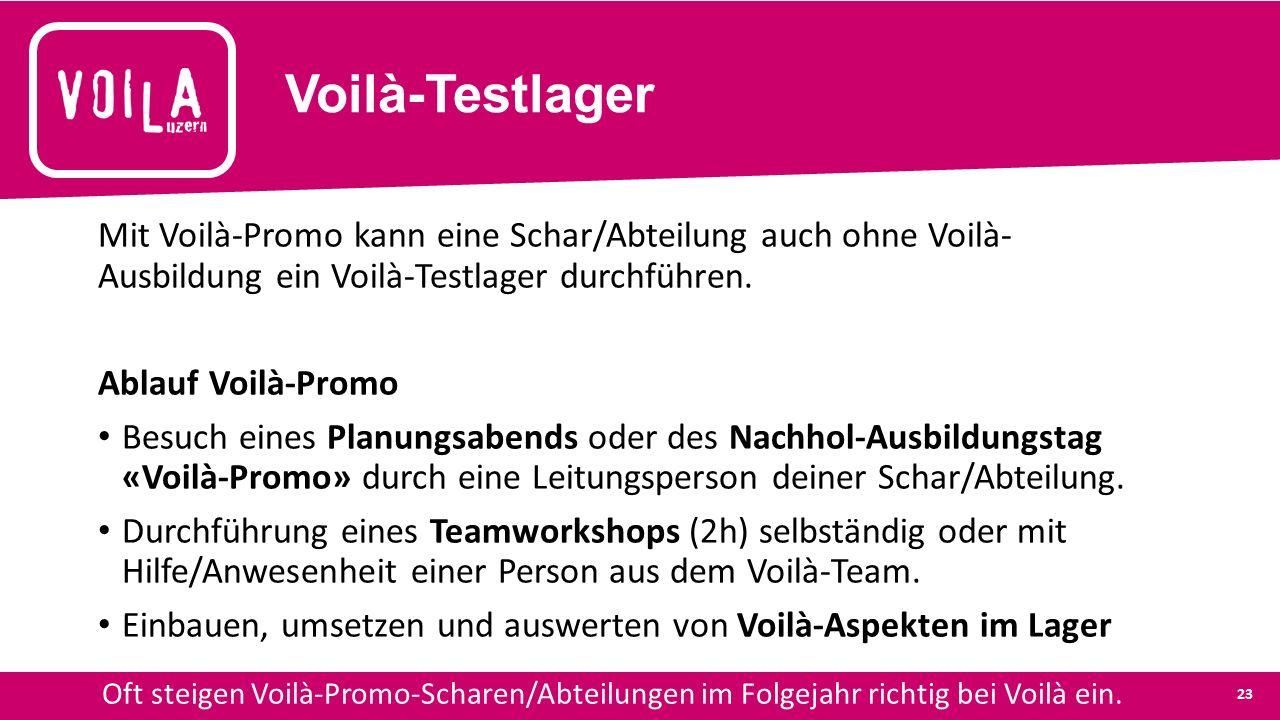 Voilà-Testlager Mit Voilà-Promo kann eine Schar/Abteilung auch ohne Voilà- Ausbildung ein Voilà-Testlager durchführen.