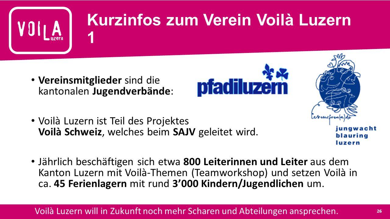 Kurzinfos zum Verein Voilà Luzern 1 Vereinsmitglieder sind die kantonalen Jugendverbände: Voilà Luzern ist Teil des Projektes Voilà Schweiz, welches beim SAJV geleitet wird.