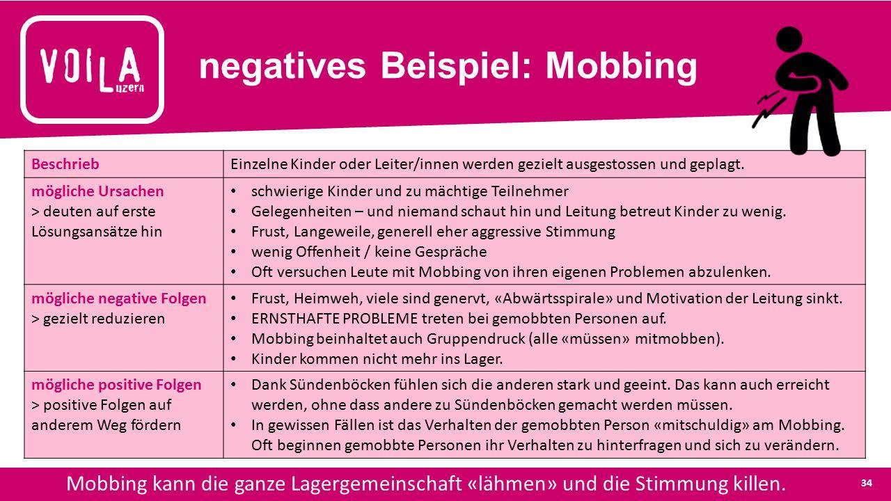 negatives Beispiel: Mobbing Mobbing kann die ganze Lagergemeinschaft «lähmen» und die Stimmung killen.