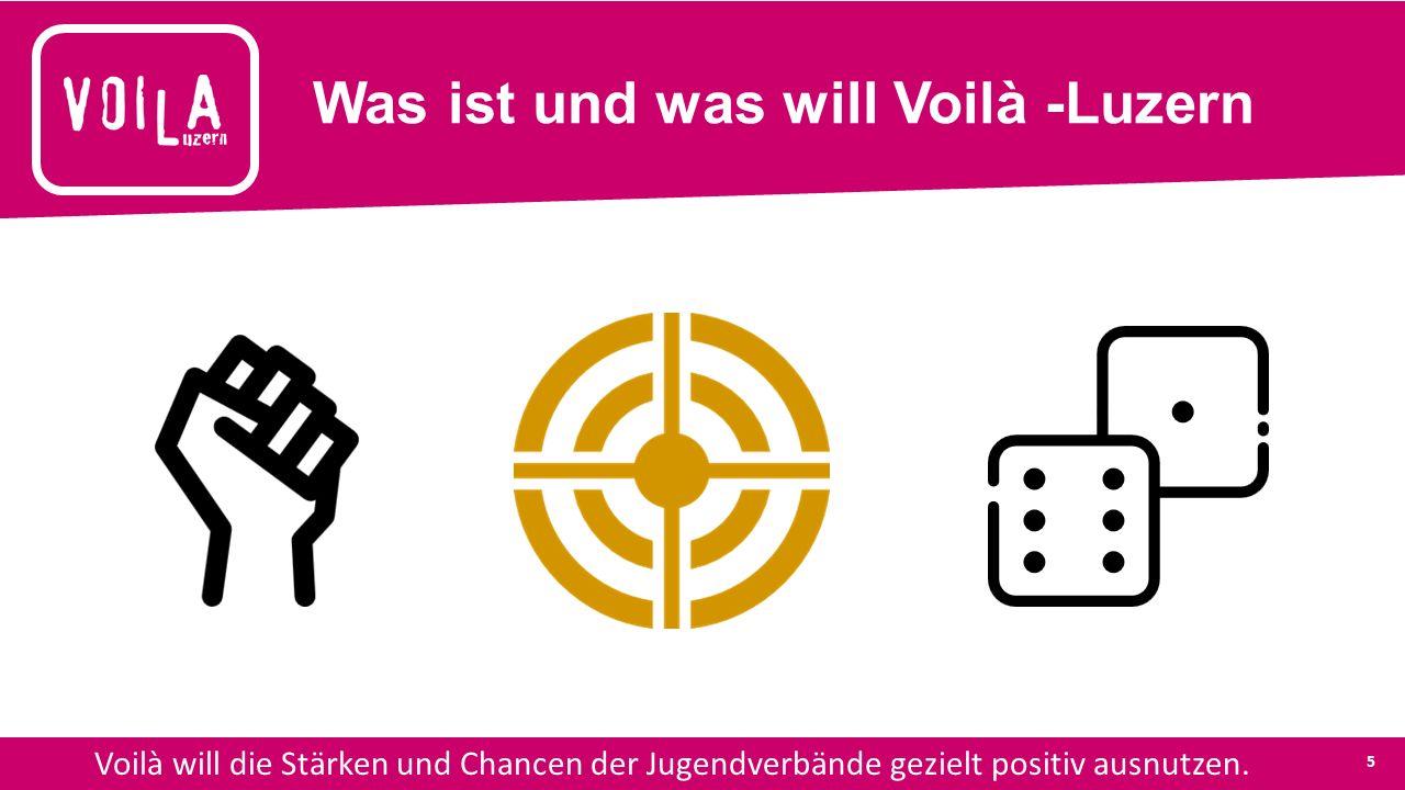 Was ist und was will Voilà -Luzern Voilà will die Stärken und Chancen der Jugendverbände gezielt positiv ausnutzen.