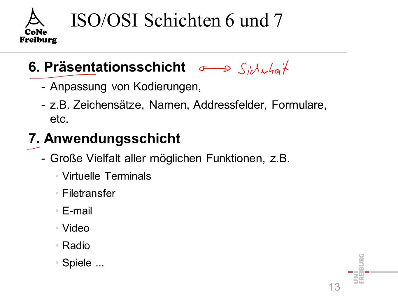 ISO/OSI Schichten 6 und 7 6. Präsentationsschicht -Anpassung von Kodierungen, -z.B.