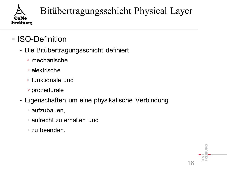 Bitübertragungsschicht Physical Layer  ISO-Definition -Die Bitübertragungsschicht definiert mechanische elektrische funktionale und prozedurale -Eigenschaften um eine physikalische Verbindung aufzubauen, aufrecht zu erhalten und zu beenden.