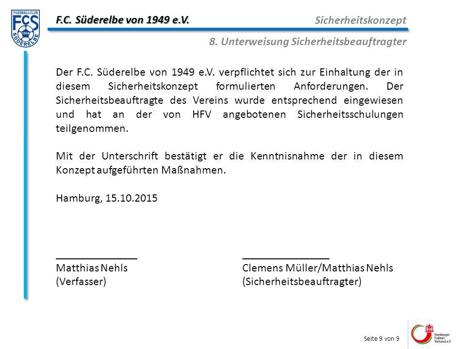 F.C. Süderelbe von 1949 e.V. Sicherheitskonzept 8.