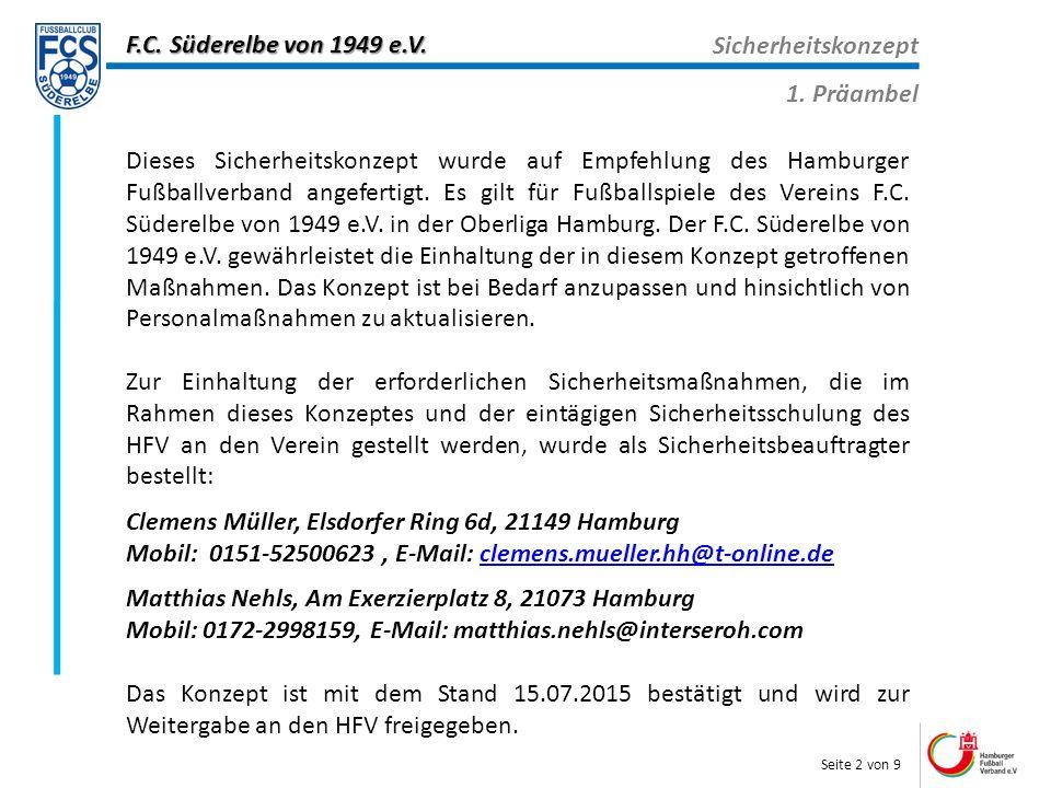 F.C. Süderelbe von 1949 e.V. Sicherheitskonzept 1.