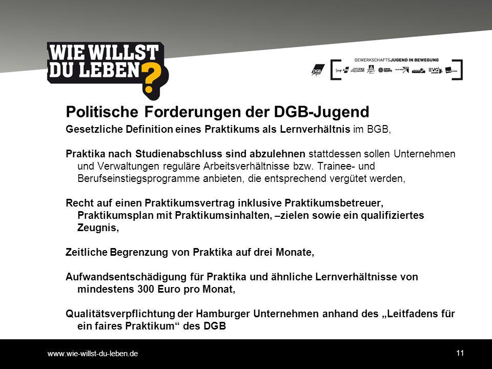 www.wie-willst-du-leben.de Politische Forderungen der DGB-Jugend Gesetzliche Definition eines Praktikums als Lernverhältnis im BGB, Praktika nach Stud