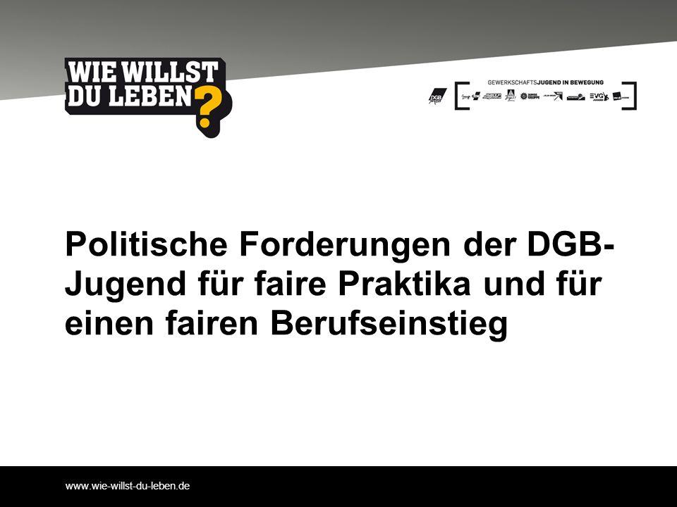 www.wie-willst-du-leben.de Politische Forderungen der DGB- Jugend für faire Praktika und für einen fairen Berufseinstieg