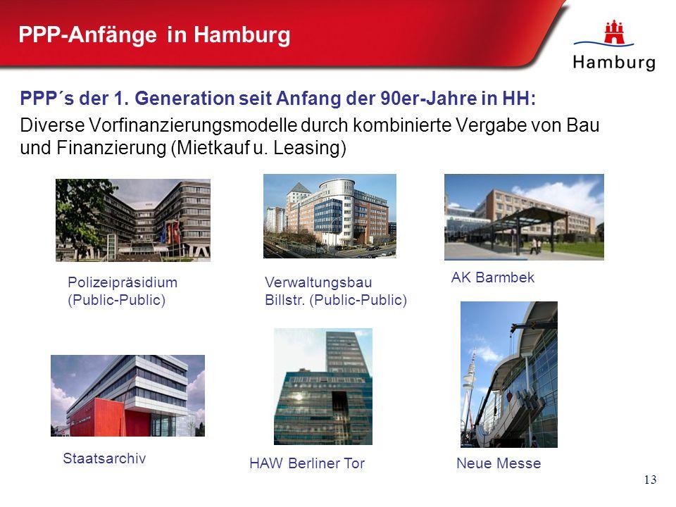 13 PPP-Anfänge in Hamburg PPP´s der 1. Generation seit Anfang der 90er-Jahre in HH: Diverse Vorfinanzierungsmodelle durch kombinierte Vergabe von Bau
