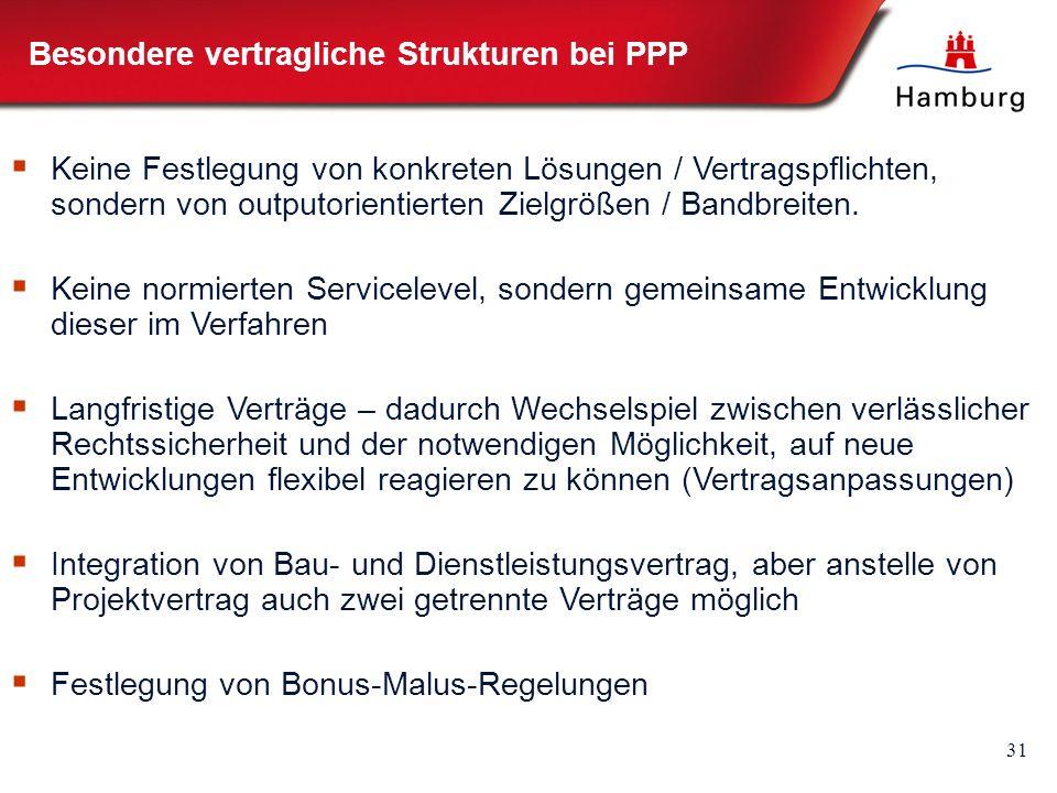 31 Besondere vertragliche Strukturen bei PPP  Keine Festlegung von konkreten Lösungen / Vertragspflichten, sondern von outputorientierten Zielgrößen / Bandbreiten.