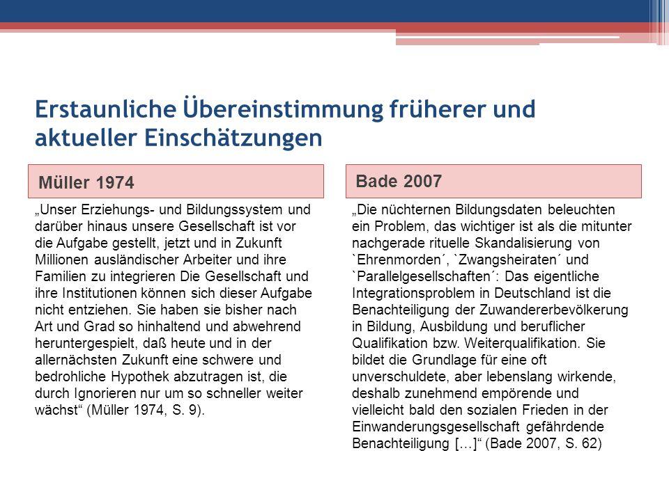 """Erstaunliche Übereinstimmung früherer und aktueller Einschätzungen Müller 1974 Bade 2007 """"Unser Erziehungs- und Bildungssystem und darüber hinaus unse"""