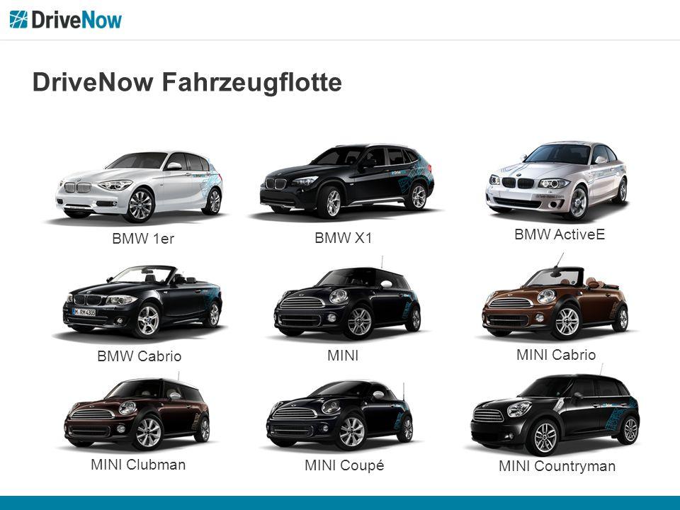 DriveNow Fahrzeugflotte BMW 1er BMW X1 BMW ActiveE MINI Clubman MINI Coupé BMW Cabrio MINI Countryman MINI Cabrio MINI