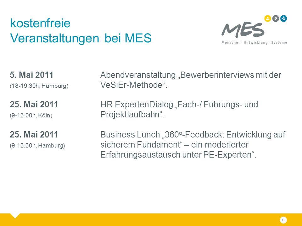 """12 kostenfreie Veranstaltungen bei MES 5. Mai 2011 Abendveranstaltung """"Bewerberinterviews mit der (18-19.30h, Hamburg) VeSiEr-Methode"""". 25. Mai 2011 H"""