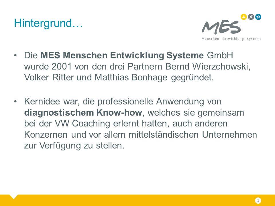 3 Hintergrund… Die MES Menschen Entwicklung Systeme GmbH wurde 2001 von den drei Partnern Bernd Wierzchowski, Volker Ritter und Matthias Bonhage gegründet.