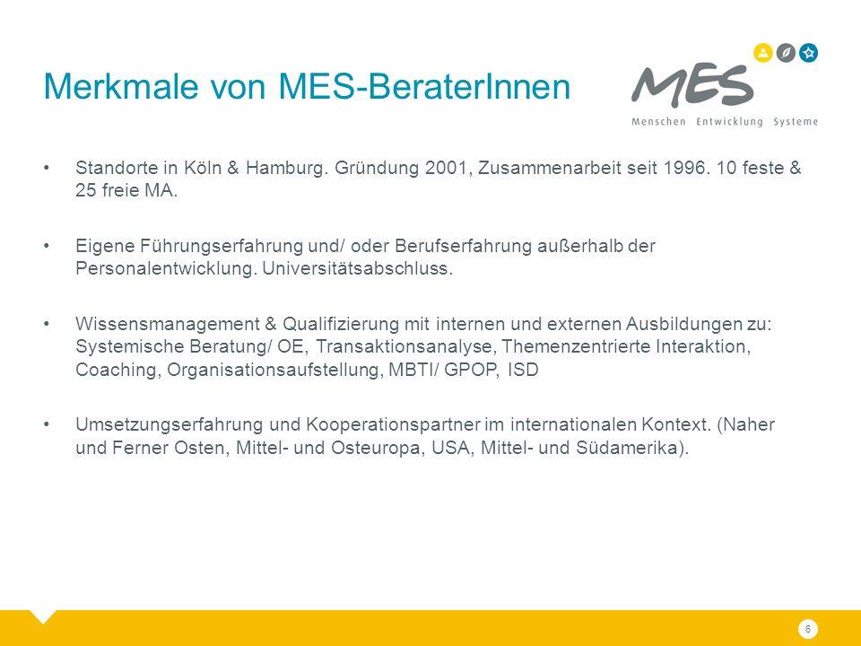 6 Merkmale von MES-BeraterInnen Standorte in Köln & Hamburg. Gründung 2001, Zusammenarbeit seit 1996. 10 feste & 25 freie MA. Eigene Führungserfahrung