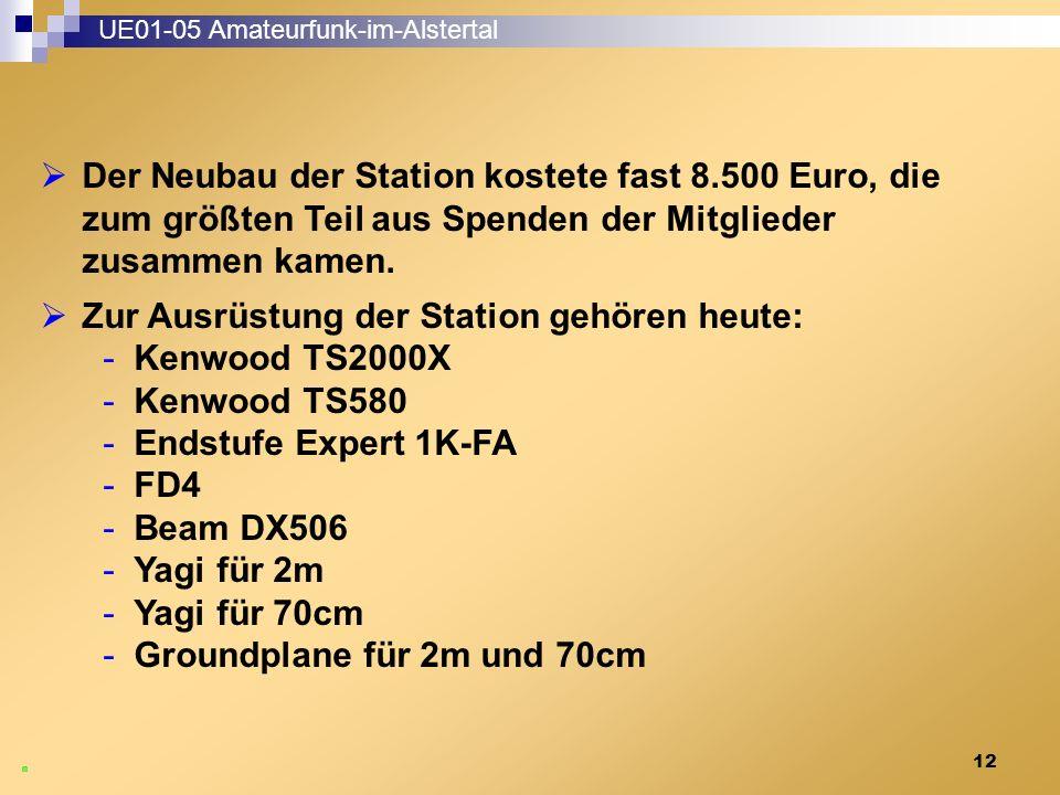 12 UE01-05 Amateurfunk-im-Alstertal  Der Neubau der Station kostete fast 8.500 Euro, die zum größten Teil aus Spenden der Mitglieder zusammen kamen.