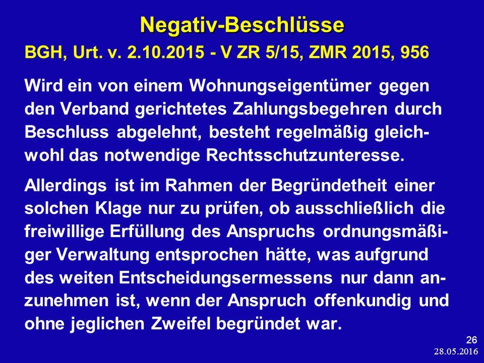 28.05.2016 26 Negativ-Beschlüsse BGH, Urt. v.