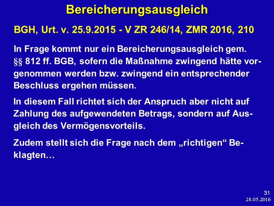 28.05.2016 31 Bereicherungsausgleich BGH, Urt. v.