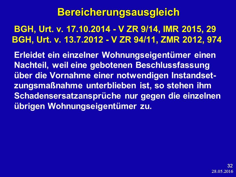 28.05.2016 32 BGH, Urt. v. 17.10.2014 - V ZR 9/14, IMR 2015, 29 BGH, Urt.