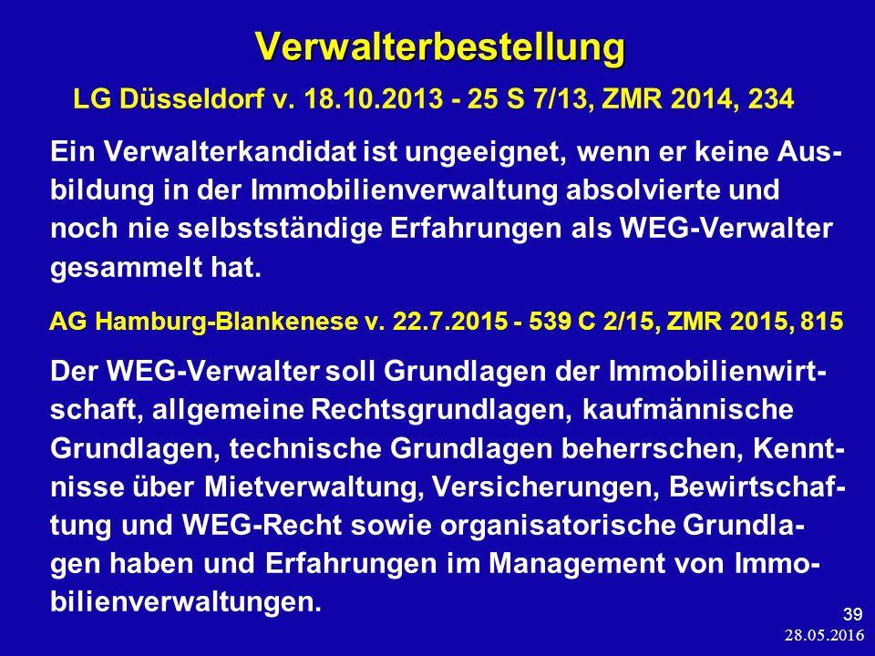 28.05.2016 39 Verwalterbestellung Verwalterbestellung LG Düsseldorf v.