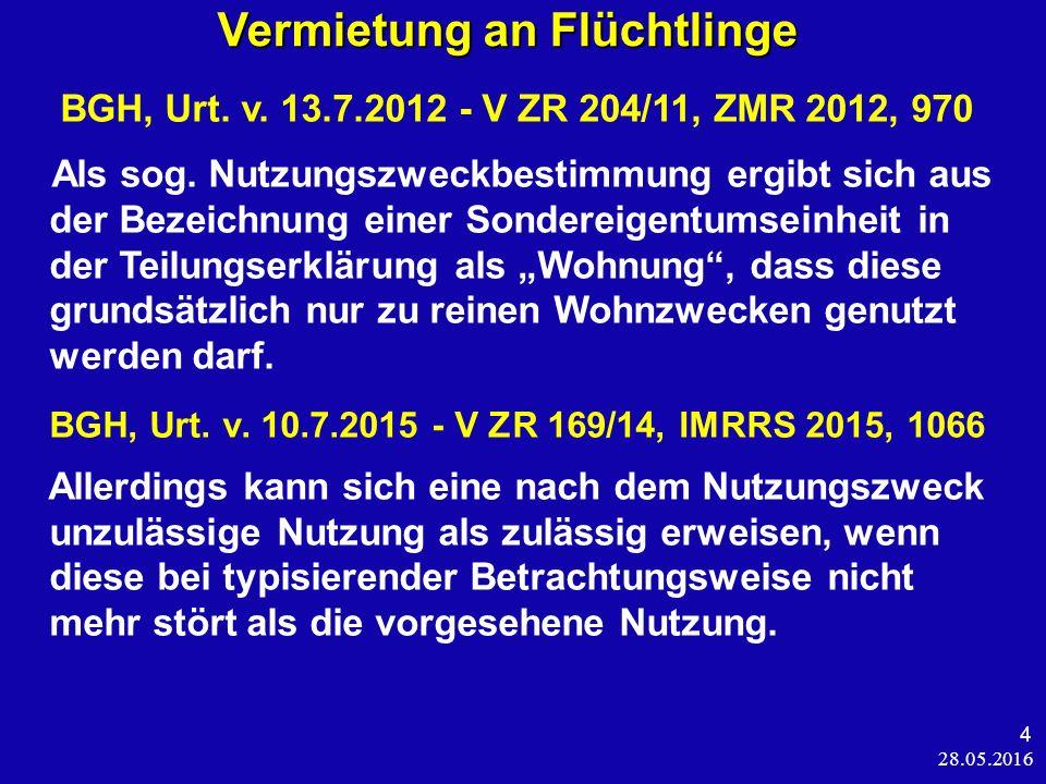 28.05.2016 4 Vermietung an Flüchtlinge Vermietung an Flüchtlinge BGH, Urt.