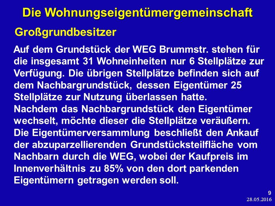 28.05.2016 9 Die Wohnungseigentümergemeinschaft Großgrundbesitzer Auf dem Grundstück der WEG Brummstr.