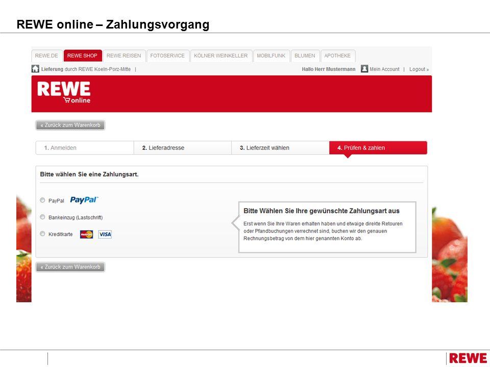 REWE online – Zahlungsvorgang