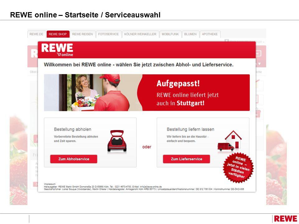 REWE online – Startseite / Serviceauswahl