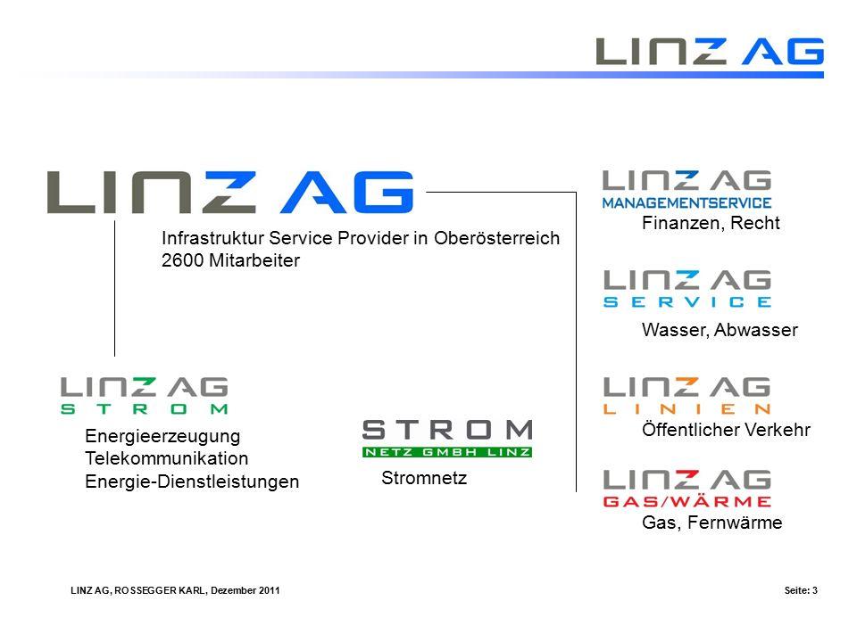 LINZ AG, ROSSEGGER KARL, Dezember 2011Seite: 3 Infrastruktur Service Provider in Oberösterreich 2600 Mitarbeiter Energieerzeugung Telekommunikation Energie-Dienstleistungen Finanzen, Recht Wasser, Abwasser Öffentlicher Verkehr Gas, Fernwärme Stromnetz