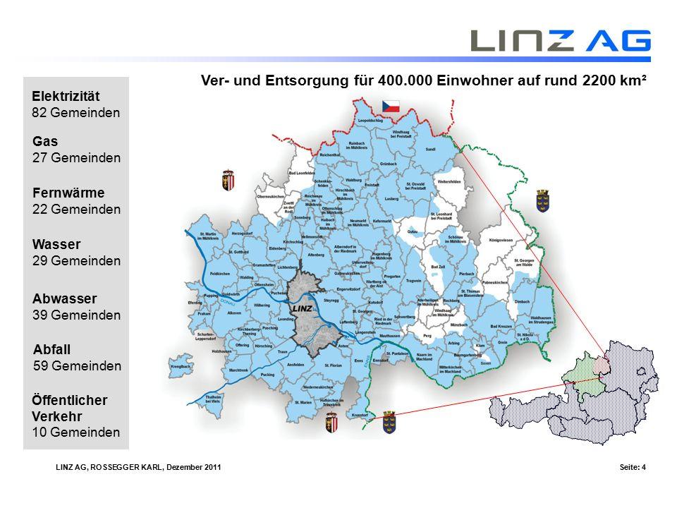 LINZ AG, ROSSEGGER KARL, Dezember 2011Seite: 5 Unified – Intelligent Energy Management Summe der Geschäftsfelder die auf eine - flächendeckende - kosteneffiziente - bidirektionale - standardisierte Telekommunikationsinfrastruktur basieren.